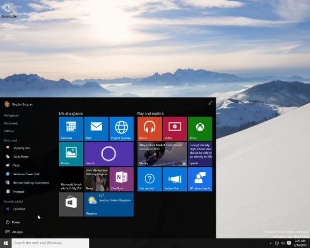Windows 10 Tema tonos oscuros. Fuente: Softpedia