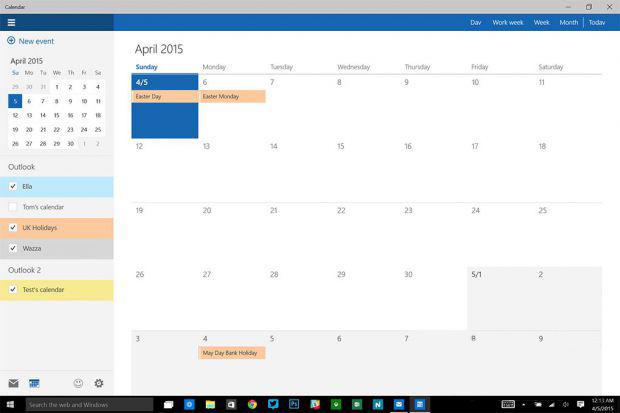 Windows 10 app Calendar imágen propiedad de TheVerge