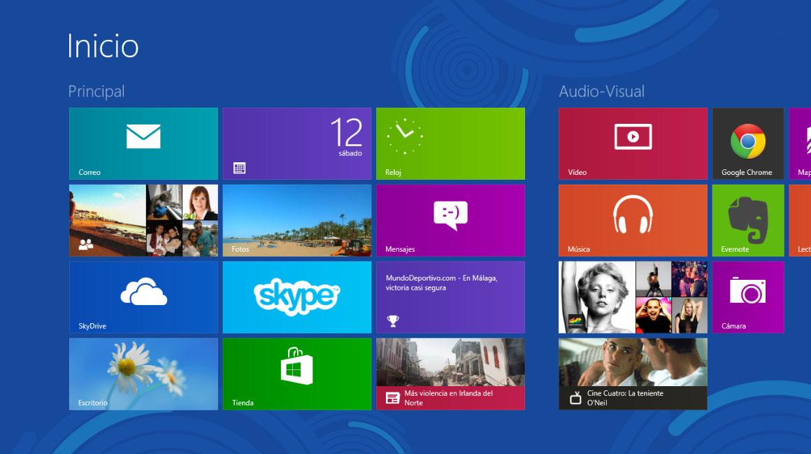 Pantalla de Inicio Windows 8