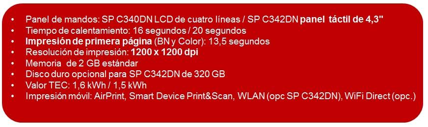 Caracteristicas SP C340DN y SP C342DN